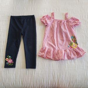 2Pc Set Pink Blue Flower Jean's Dress Top Leggings